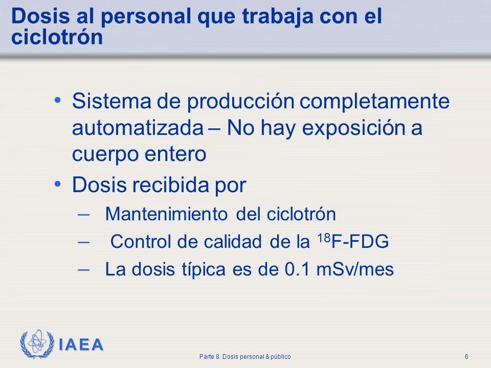 IAEA Parte 8. Dosis personal & público6 Dosis al personal que trabaja con el ciclotrón Sistema de producción completamente automatizada – No hay expos