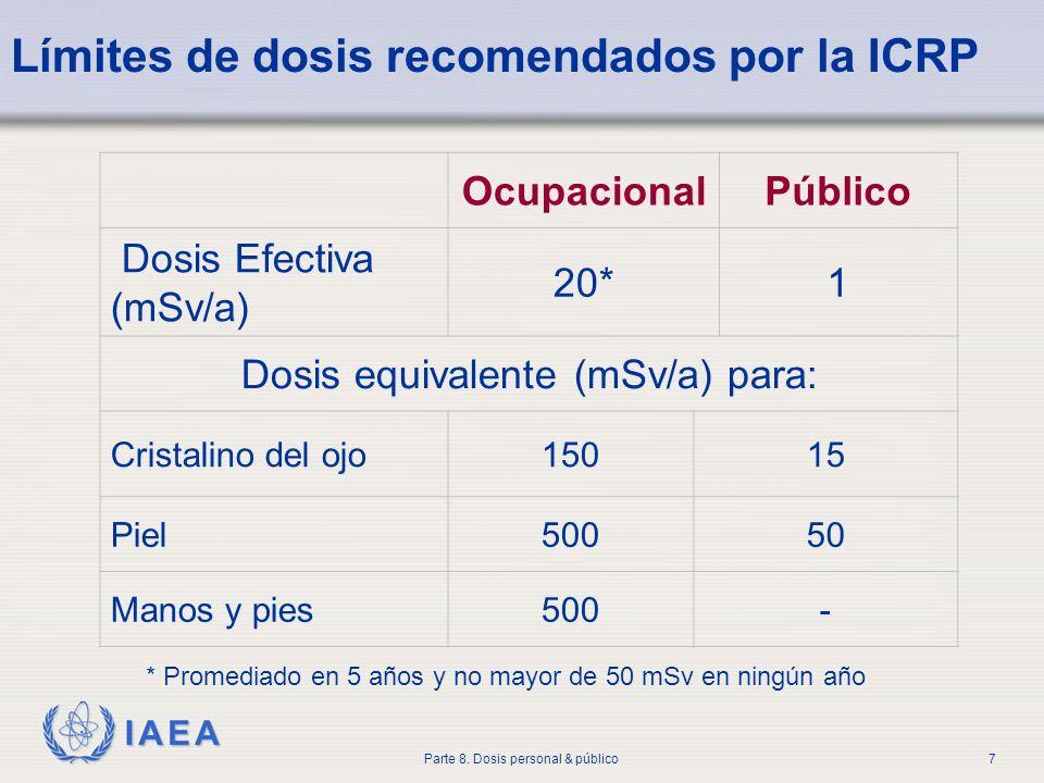 IAEA Parte 8. Dosis personal & público7 Límites de dosis recomendados por la ICRP * Promediado en 5 años y no mayor de 50 mSv en ningún año Ocupaciona