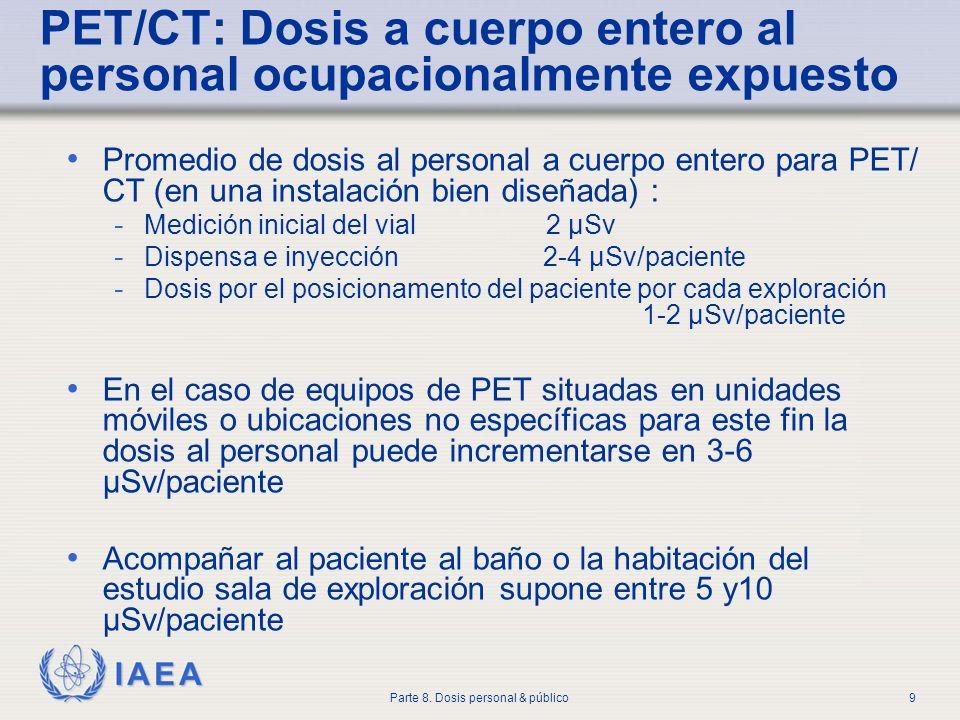 IAEA Parte 8. Dosis personal & público9 PET/CT: Dosis a cuerpo entero al personal ocupacionalmente expuesto Promedio de dosis al personal a cuerpo ent