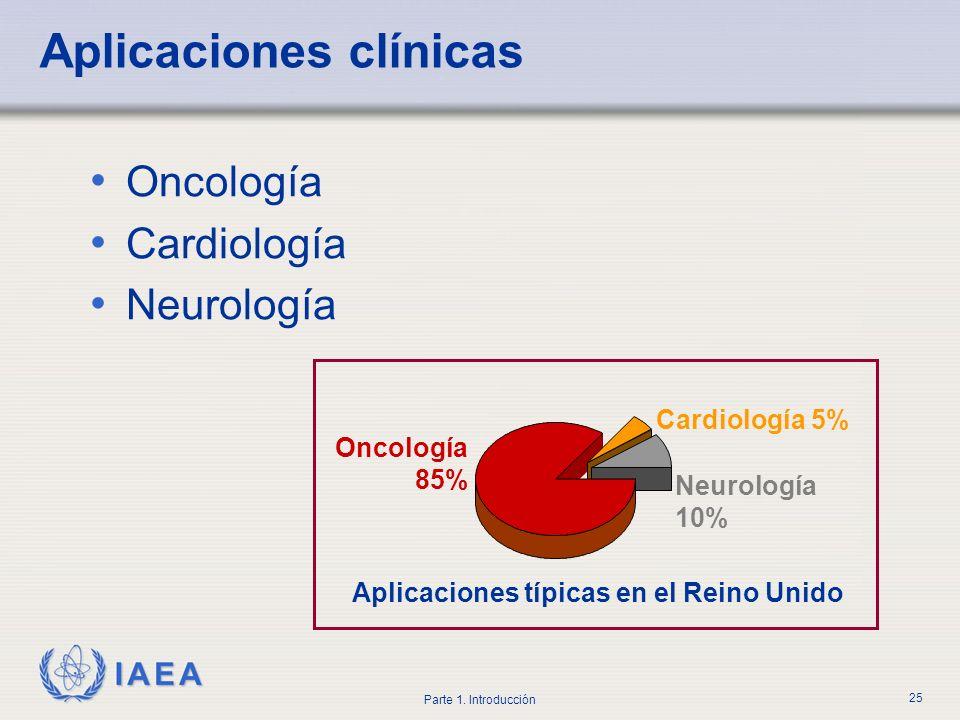 IAEA Parte 1. Introducción 25 Aplicaciones clínicas Oncología Cardiología Neurología Oncología 85% Cardiología 5% Neurología 10% Aplicaciones típicas