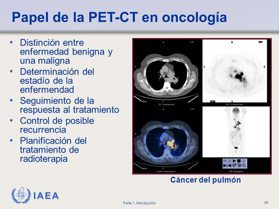 IAEA Parte 1. Introducción 26 Distinción entre enfermedad benigna y una maligna Determinación del estadío de la enfermendad Seguimiento de la respuest