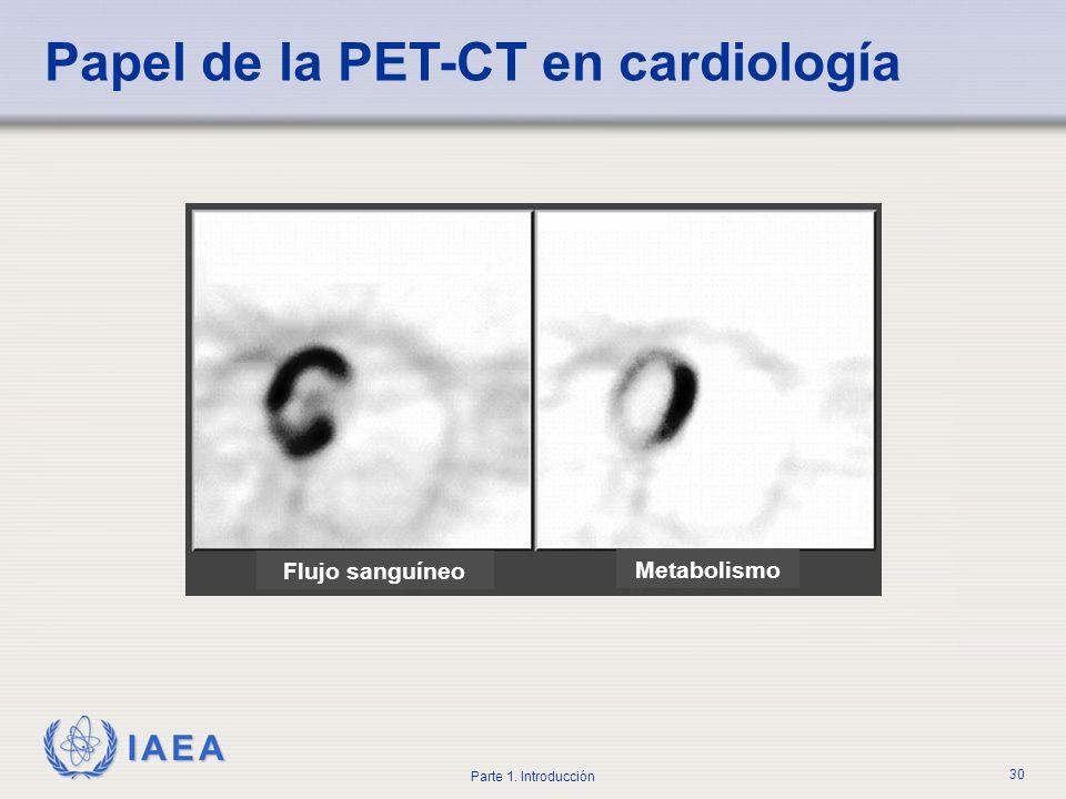 IAEA Parte 1. Introducción 30 Flujo sanguíneo Metabolismo Papel de la PET-CT en cardiología