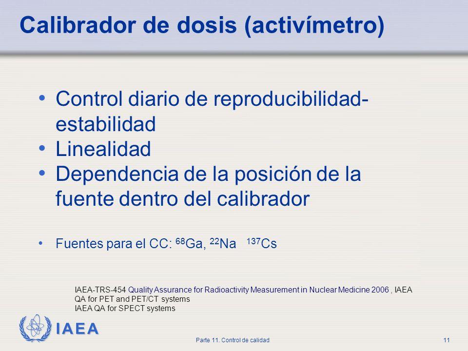IAEA Parte 11. Control de calidad11 Calibrador de dosis (activímetro) Control diario de reproducibilidad- estabilidad Linealidad Dependencia de la pos