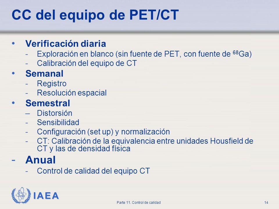 IAEA Parte 11. Control de calidad14 CC del equipo de PET/CT Verificación diaria - Exploración en blanco (sin fuente de PET, con fuente de 68 Ga) - Cal