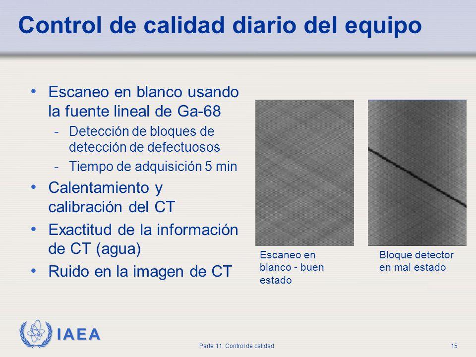 IAEA Parte 11. Control de calidad15 Control de calidad diario del equipo Escaneo en blanco usando la fuente lineal de Ga-68 - Detección de bloques de