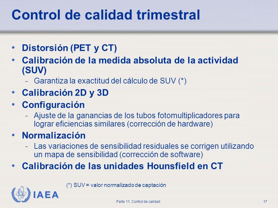 IAEA Parte 11. Control de calidad17 Control de calidad trimestral Distorsión (PET y CT) Calibración de la medida absoluta de la actividad (SUV) - Gara