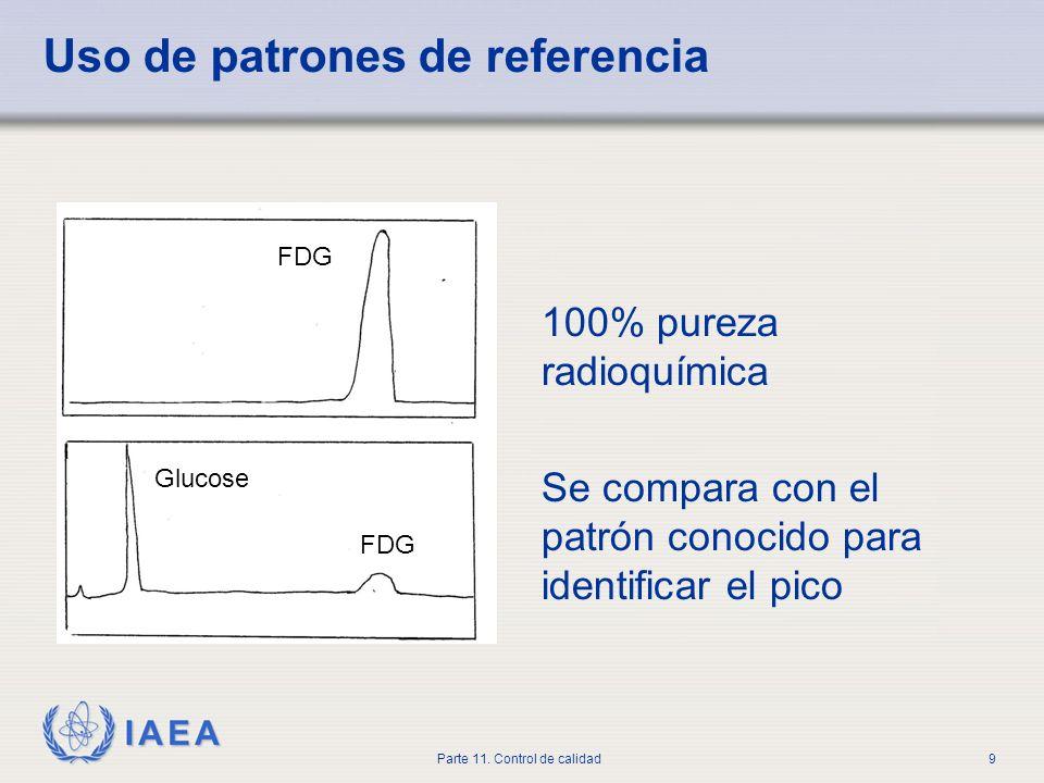 IAEA Parte 11. Control de calidad9 Uso de patrones de referencia 100% pureza radioquímica Se compara con el patrón conocido para identificar el pico F