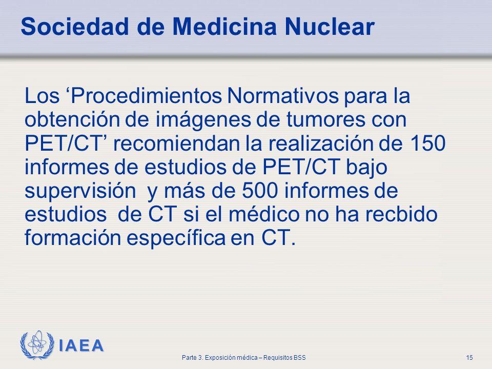 IAEA Parte 3. Exposición médica – Requisitos BSS15 Sociedad de Medicina Nuclear Los Procedimientos Normativos para la obtención de imágenes de tumores