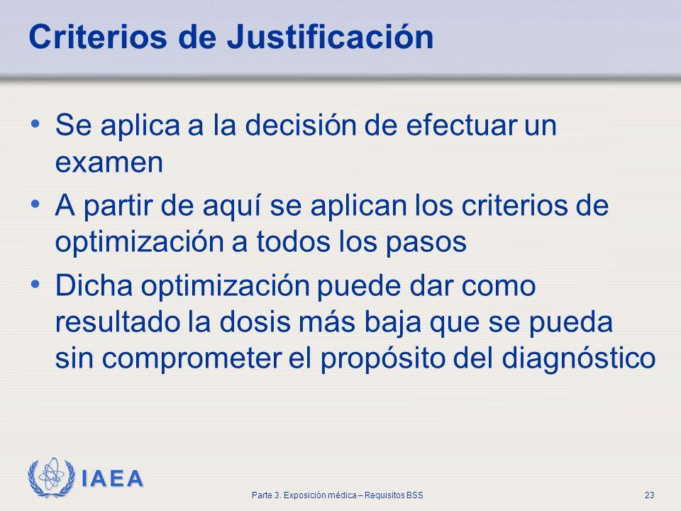 IAEA Parte 3. Exposición médica – Requisitos BSS23 Criterios de Justificación Se aplica a la decisión de efectuar un examen A partir de aquí se aplica