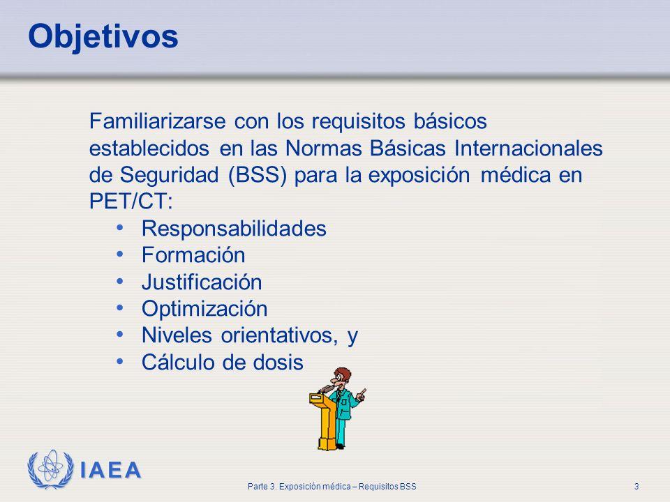 IAEA Parte 3. Exposición médica – Requisitos BSS3 Objetivos Familiarizarse con los requisitos básicos establecidos en las Normas Básicas Internacional