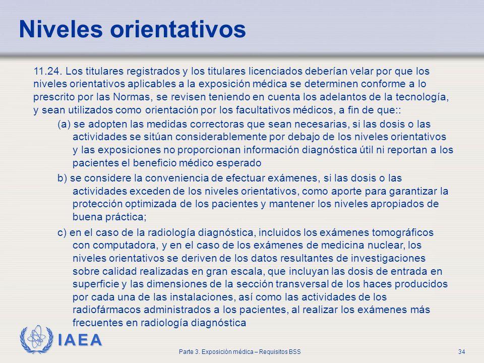 IAEA Parte 3. Exposición médica – Requisitos BSS34 Niveles orientativos 11.24. Los titulares registrados y los titulares licenciados deberían velar po