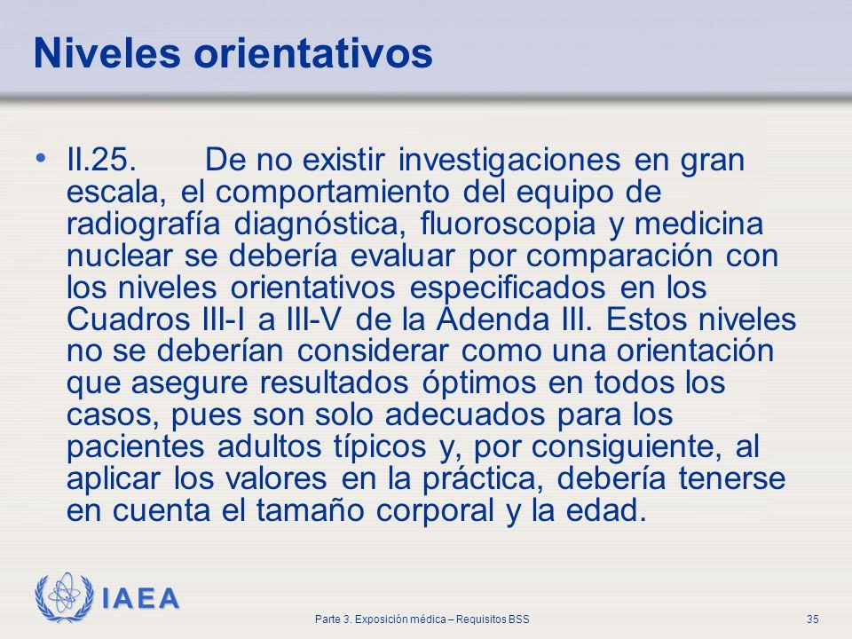 IAEA Parte 3. Exposición médica – Requisitos BSS35 Niveles orientativos II.25. De no existir investigaciones en gran escala, el comportamiento del equ