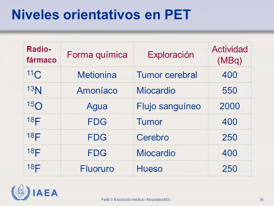 IAEA Parte 3. Exposición médica – Requisitos BSS36 Niveles orientativos en PET Radio- fármaco Forma químicaExploración Actividad (MBq) 11 C MetioninaT