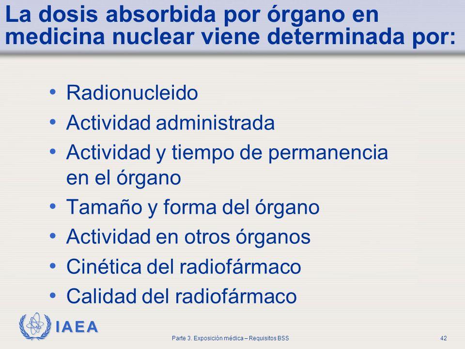 IAEA Parte 3. Exposición médica – Requisitos BSS42 La dosis absorbida por órgano en medicina nuclear viene determinada por: Radionucleido Actividad ad