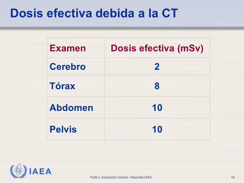 IAEA Parte 3. Exposición médica – Requisitos BSS48 Dosis efectiva debida a la CT ExamenDosis efectiva (mSv) Cerebro2 Tórax8 Abdomen10 Pelvis10