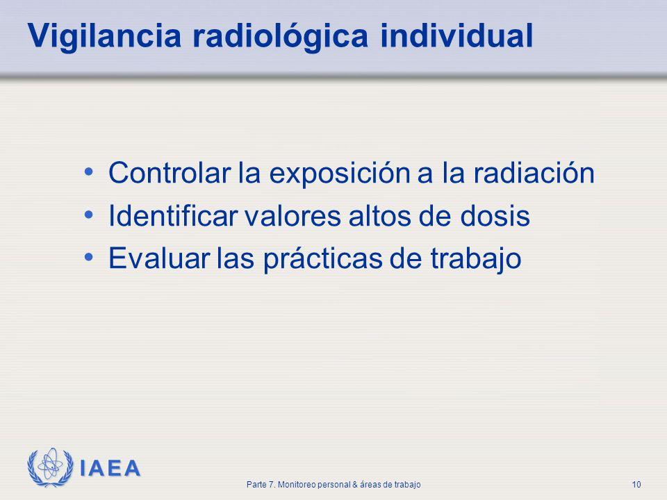 IAEA Parte 7. Monitoreo personal & áreas de trabajo10 Vigilancia radiológica individual Controlar la exposición a la radiación Identificar valores alt