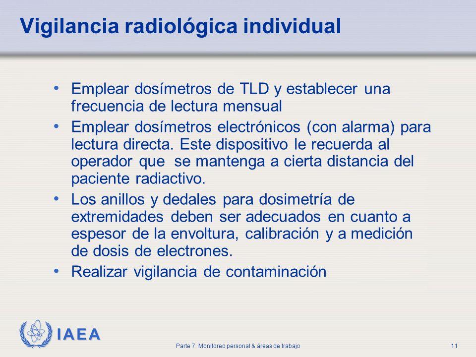 IAEA Parte 7. Monitoreo personal & áreas de trabajo11 Vigilancia radiológica individual Emplear dosímetros de TLD y establecer una frecuencia de lectu