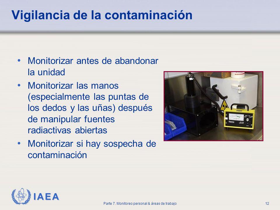 IAEA Parte 7. Monitoreo personal & áreas de trabajo12 Vigilancia de la contaminación Monitorizar antes de abandonar la unidad Monitorizar las manos (e