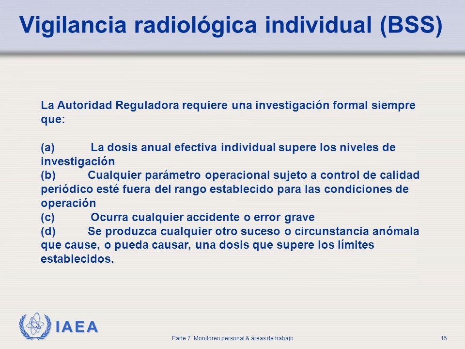 IAEA Parte 7. Monitoreo personal & áreas de trabajo15 Vigilancia radiológica individual (BSS) La Autoridad Reguladora requiere una investigación forma