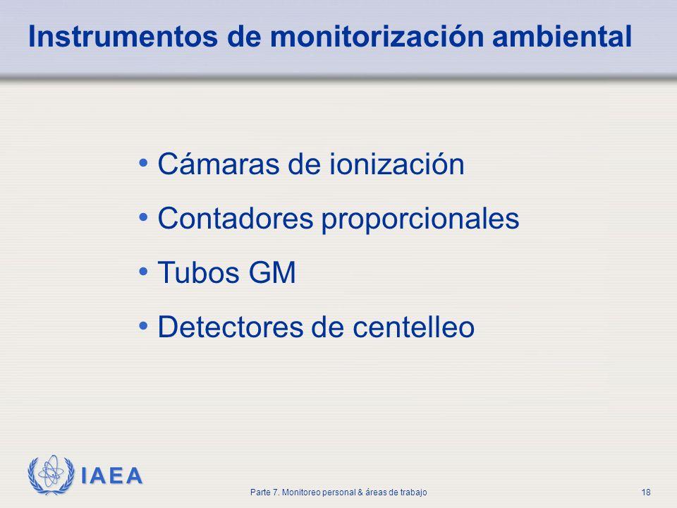 IAEA Parte 7. Monitoreo personal & áreas de trabajo18 Cámaras de ionización Contadores proporcionales Tubos GM Detectores de centelleo Instrumentos de