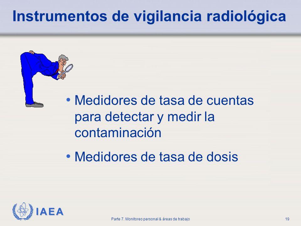 IAEA Parte 7. Monitoreo personal & áreas de trabajo19 Medidores de tasa de cuentas para detectar y medir la contaminación Medidores de tasa de dosis I
