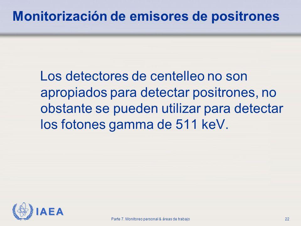 IAEA Parte 7. Monitoreo personal & áreas de trabajo22 Monitorización de emisores de positrones Los detectores de centelleo no son apropiados para dete