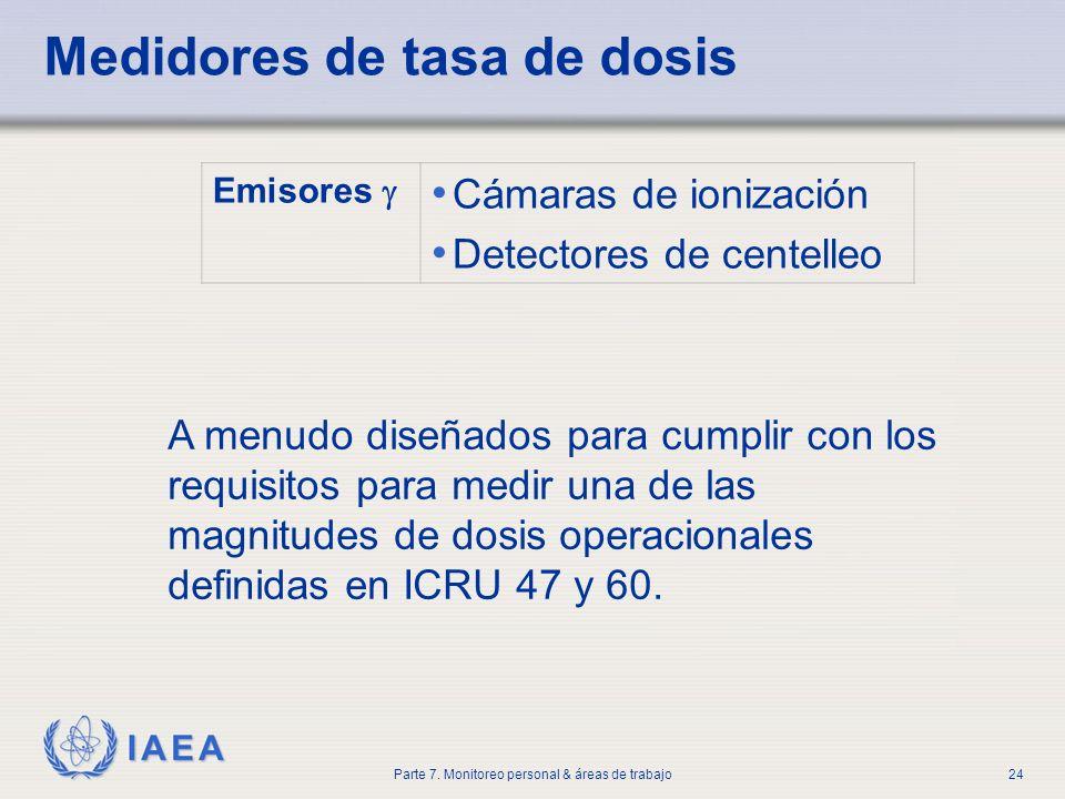 IAEA Parte 7. Monitoreo personal & áreas de trabajo24 A menudo diseñados para cumplir con los requisitos para medir una de las magnitudes de dosis ope