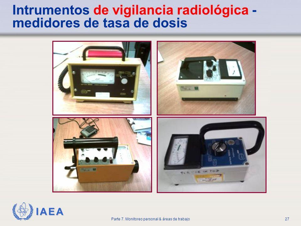 IAEA Parte 7. Monitoreo personal & áreas de trabajo27 Intrumentos de vigilancia radiológica - medidores de tasa de dosis