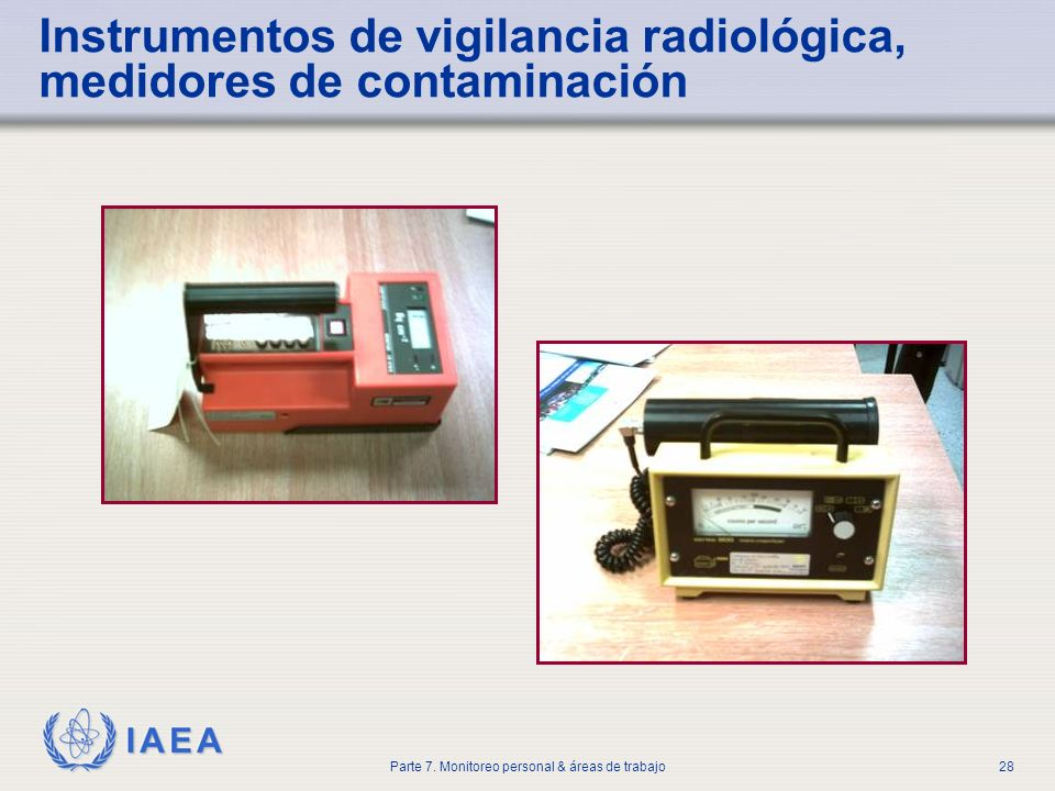 IAEA Parte 7. Monitoreo personal & áreas de trabajo28 Instrumentos de vigilancia radiológica, medidores de contaminación