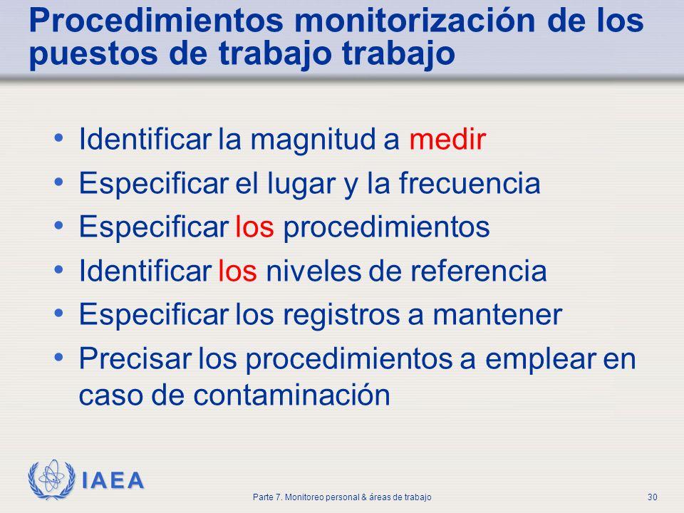 IAEA Parte 7. Monitoreo personal & áreas de trabajo30 Procedimientos monitorización de los puestos de trabajo trabajo Identificar la magnitud a medir