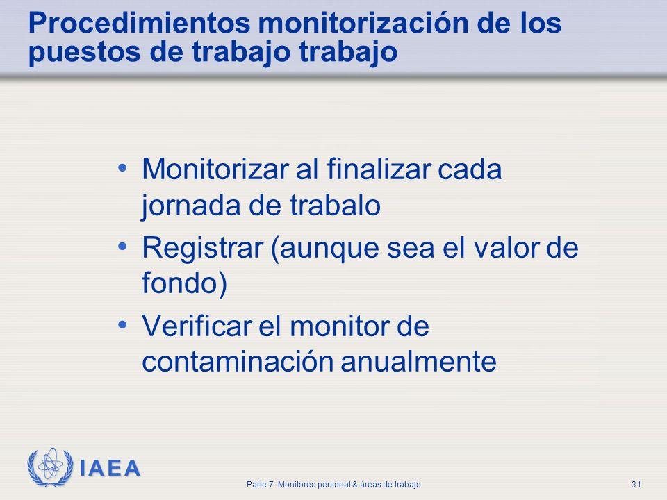 IAEA Parte 7. Monitoreo personal & áreas de trabajo31 Procedimientos monitorización de los puestos de trabajo trabajo Monitorizar al finalizar cada jo