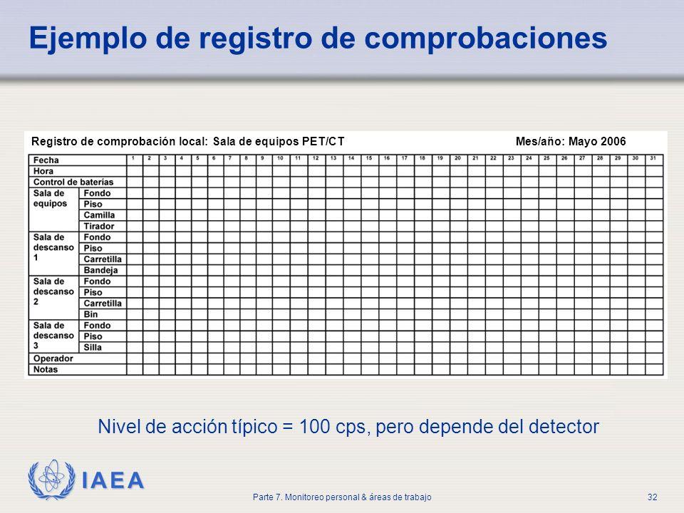 IAEA Parte 7. Monitoreo personal & áreas de trabajo32 Ejemplo de registro de comprobaciones Nivel de acción típico = 100 cps, pero depende del detecto