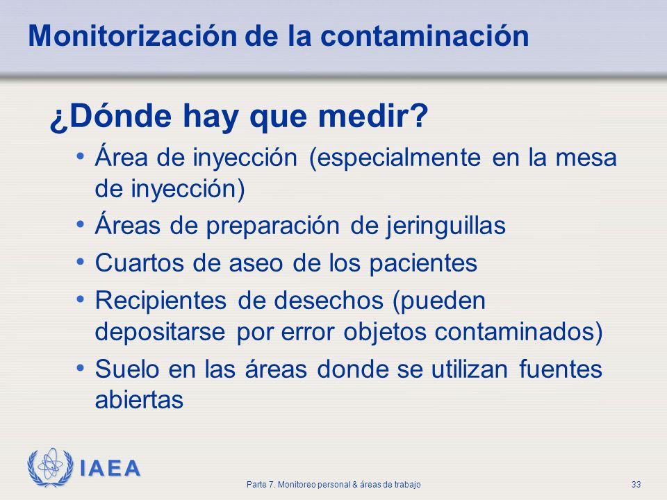 IAEA Parte 7. Monitoreo personal & áreas de trabajo33 Monitorización de la contaminación ¿Dónde hay que medir? Área de inyección (especialmente en la