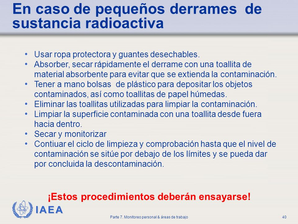IAEA Parte 7. Monitoreo personal & áreas de trabajo40 Usar ropa protectora y guantes desechables. Absorber, secar rápidamente el derrame con una toall