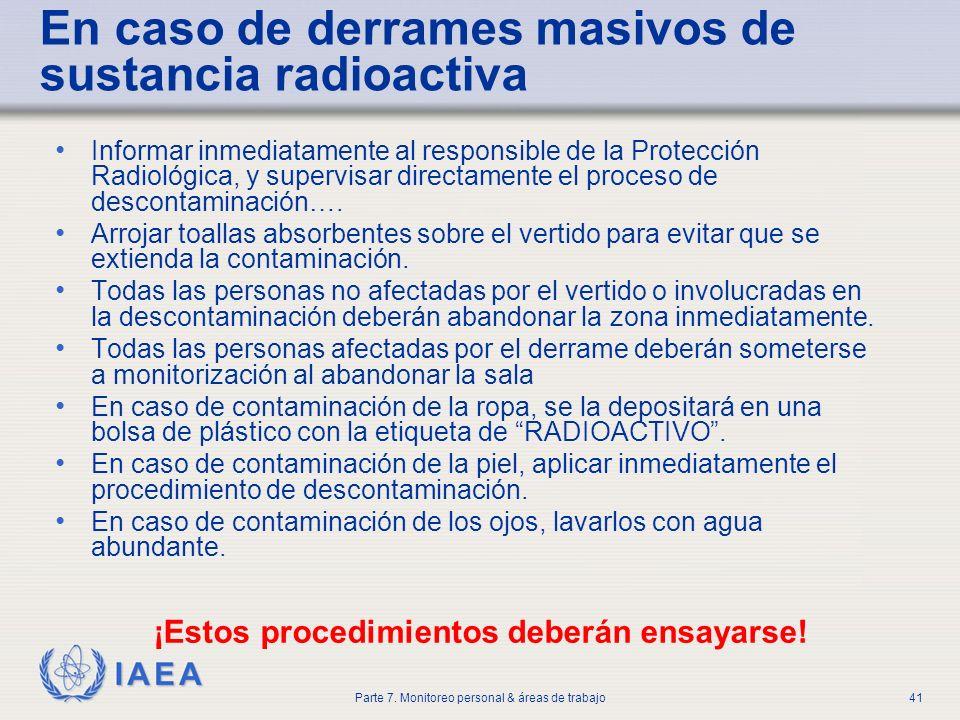 IAEA Parte 7. Monitoreo personal & áreas de trabajo41 En caso de derrames masivos de sustancia radioactiva Informar inmediatamente al responsible de l