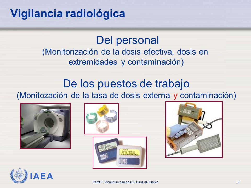 IAEA Parte 7. Monitoreo personal & áreas de trabajo5 Del personal (Monitorización de la dosis efectiva, dosis en extremidades y contaminación) De los