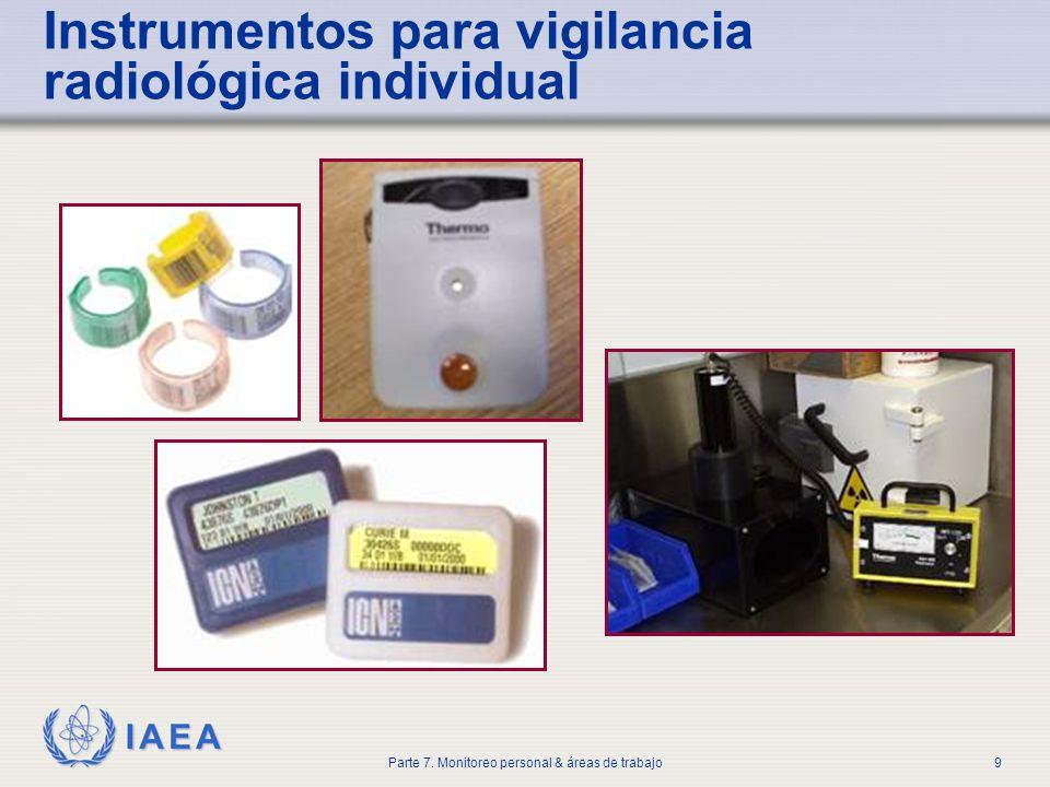 IAEA Parte 7. Monitoreo personal & áreas de trabajo9 Instrumentos para vigilancia radiológica individual
