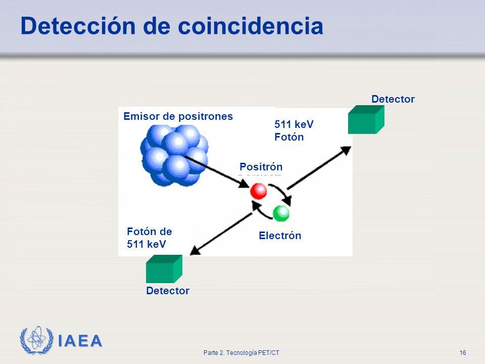 IAEA Parte 2. Tecnología PET/CT16 Detección de coincidencia Emisor de positrones Electrón Detector 511 keV Fotón Fotón de 511 keV Positrón