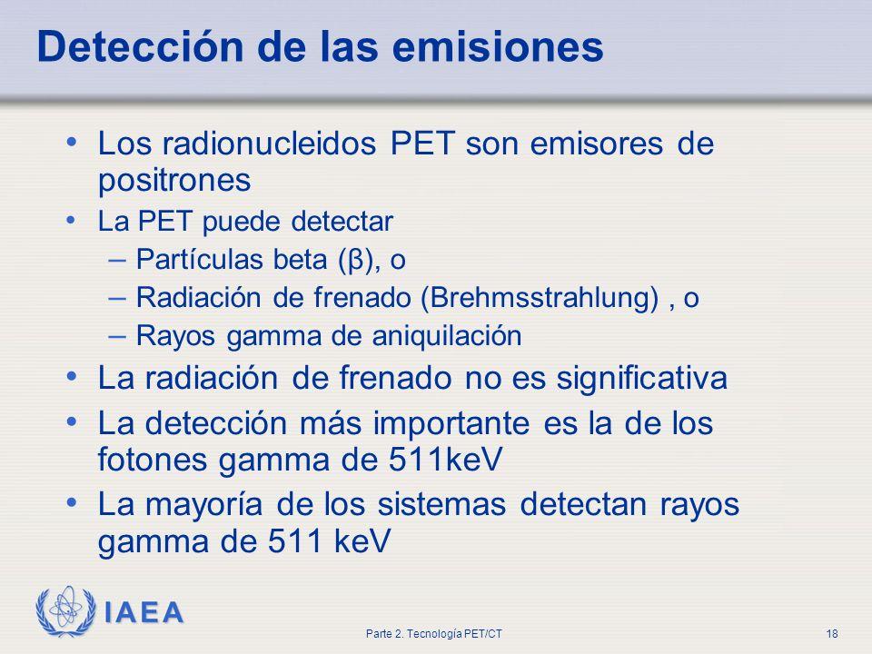 IAEA Parte 2. Tecnología PET/CT18 Detección de las emisiones Los radionucleidos PET son emisores de positrones La PET puede detectar – Partículas beta
