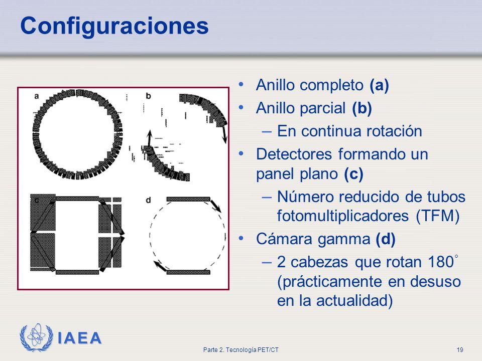IAEA Parte 2. Tecnología PET/CT19 Configuraciones Anillo completo (a) Anillo parcial (b) – En continua rotación Detectores formando un panel plano (c)