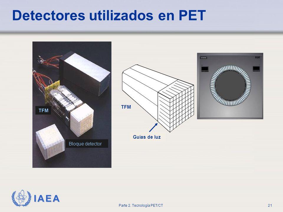IAEA Parte 2. Tecnología PET/CT21 Detectores utilizados en PET Lightguide TFM Guías de luz Bloque detector TFM