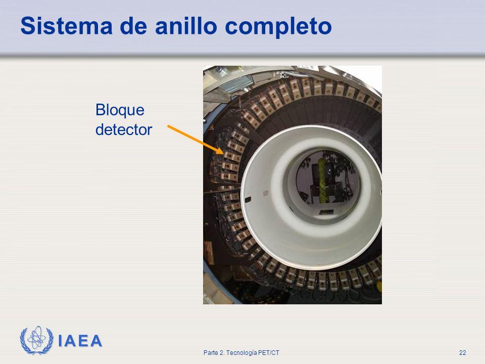 IAEA Parte 2. Tecnología PET/CT22 Sistema de anillo completo Bloque detector