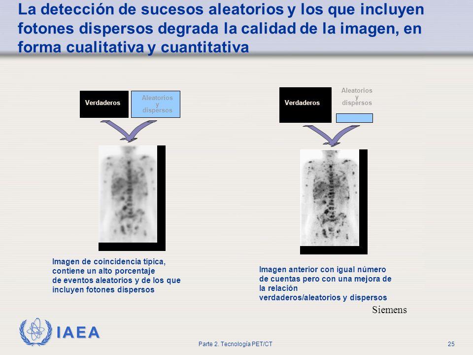 IAEA Parte 2. Tecnología PET/CT25 Siemens La detección de sucesos aleatorios y los que incluyen fotones dispersos degrada la calidad de la imagen, en