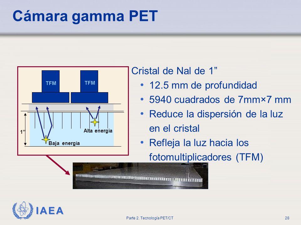 IAEA Parte 2. Tecnología PET/CT28 Cristal de Nal de 1 12.5 mm de profundidad 5940 cuadrados de 7mm×7 mm Reduce la dispersión de la luz en el cristal R