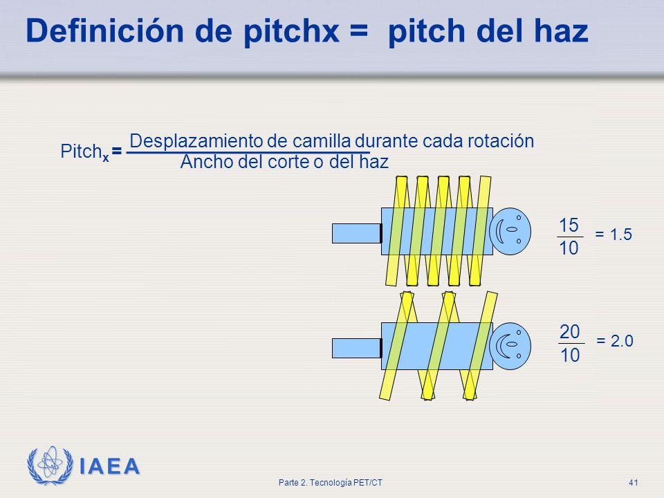 IAEA Parte 2. Tecnología PET/CT41 Definición de pitchx = pitch del haz 10 15 = 1.5 10 20 = 2.0 Desplazamiento de camilla durante cada rotación Ancho d