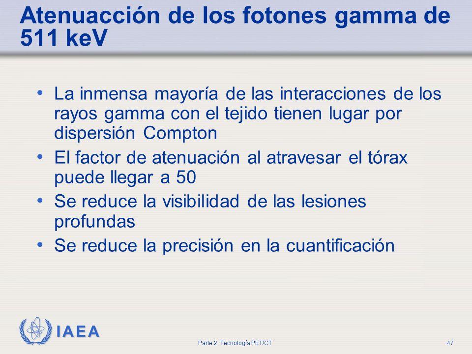 IAEA Parte 2. Tecnología PET/CT47 Atenuacción de los fotones gamma de 511 keV La inmensa mayoría de las interacciones de los rayos gamma con el tejido