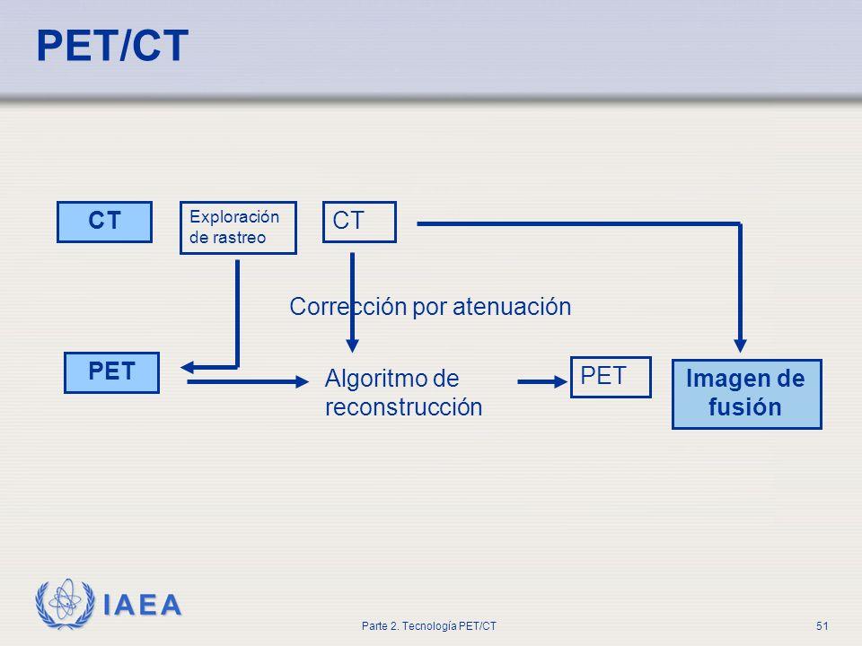 IAEA Parte 2. Tecnología PET/CT51 PET/CT CT PET Exploración de rastreo CT Algoritmo de reconstrucción Corrección por atenuación PET Imagen de fusión
