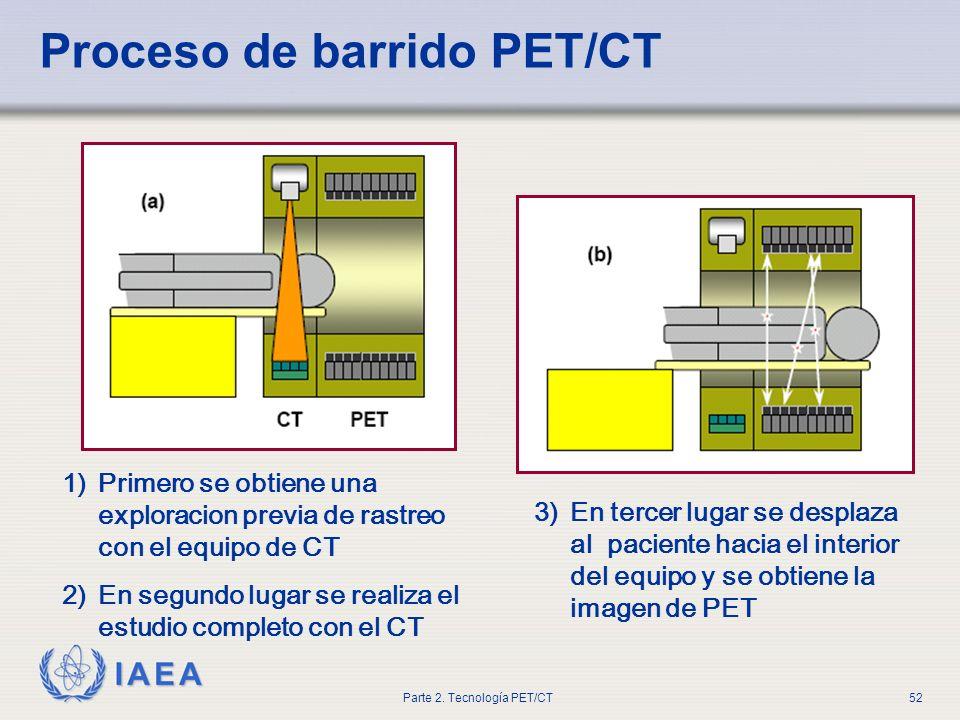 IAEA Parte 2. Tecnología PET/CT52 Proceso de barrido PET/CT 1)Primero se obtiene una exploracion previa de rastreo con el equipo de CT 2)En segundo lu