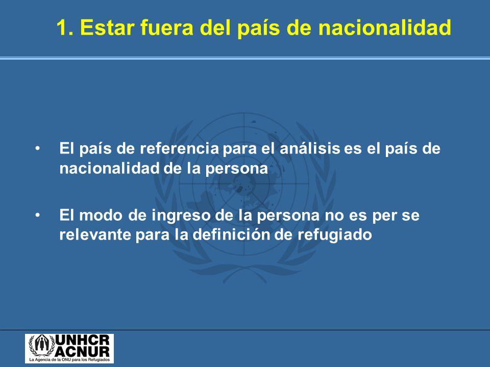 1. Estar fuera del país de nacionalidad El país de referencia para el análisis es el país de nacionalidad de la persona El modo de ingreso de la perso