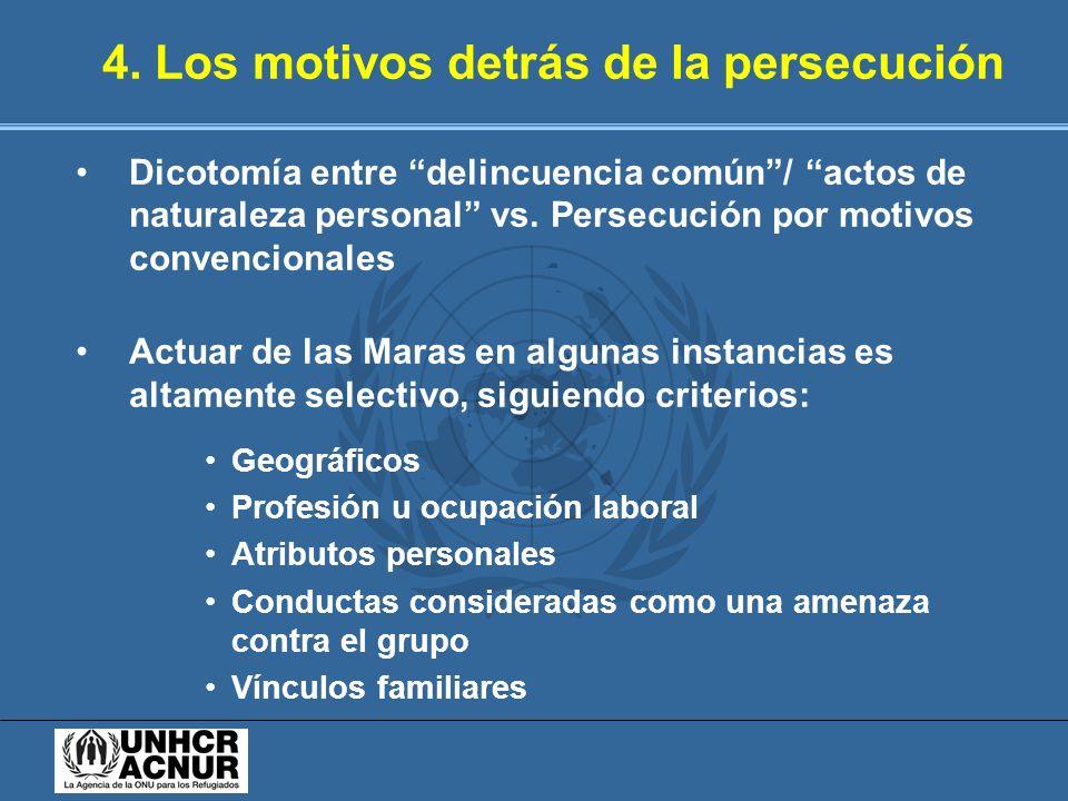 4. Los motivos detrás de la persecución Dicotomía entre delincuencia común/ actos de naturaleza personal vs. Persecución por motivos convencionales Ac